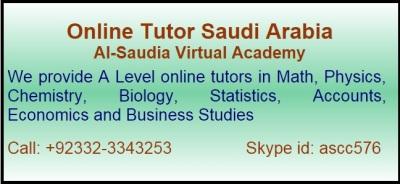Online A Level Tutor in Saudi Arabia